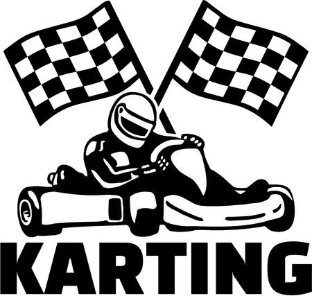Karting met kart bestuurder en het doel vlaggen