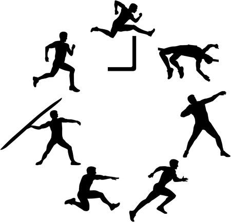 Siebenkämpferin Silhouette in einem Kreis