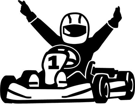 Winning kart racer Vettoriali
