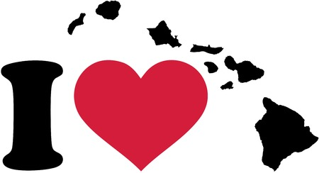 surfen: I love Hawaii map