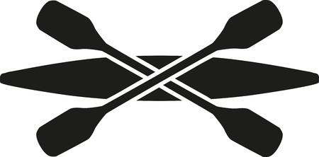paddles: Kayak with crossed paddles Illustration