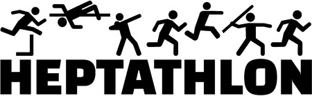 hurdles: Heptathlon pictogram with word Illustration