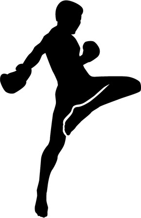 Muay Thai fighter silhouette Фото со стока - 51818640