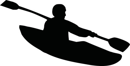 kayaking: Kayaking silhouette