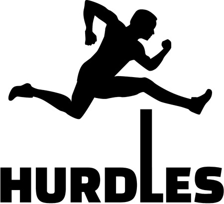hurdles: Hurdles with man silhouette
