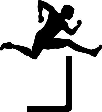 hurdles: Man jumping over hurdles Illustration