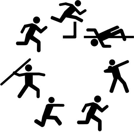shot put: Heptathlete pictograms in a circle Illustration