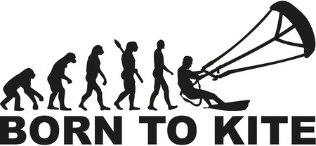 kite surfing: Born to kite evolution Illustration