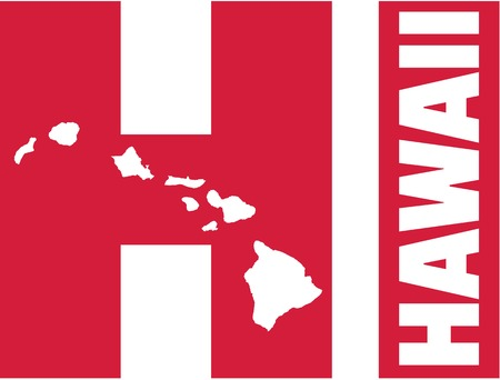 surfen: Hawaii with state abbreviations HI and map