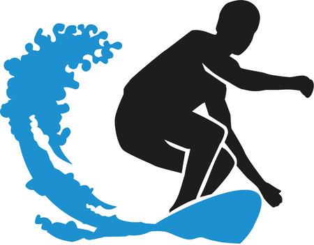 granola: Surfer surf una onda grande Vectores