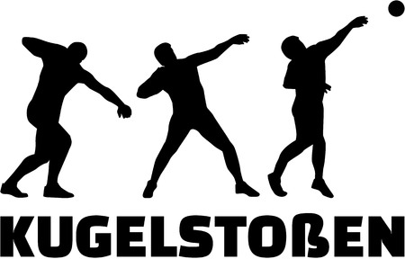 shot put: Shot put german word with silhouettes