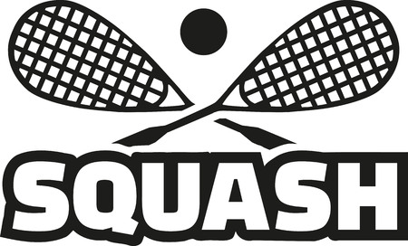 Squash word with crossed rackets
