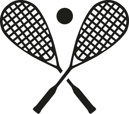Squash rackets with ball