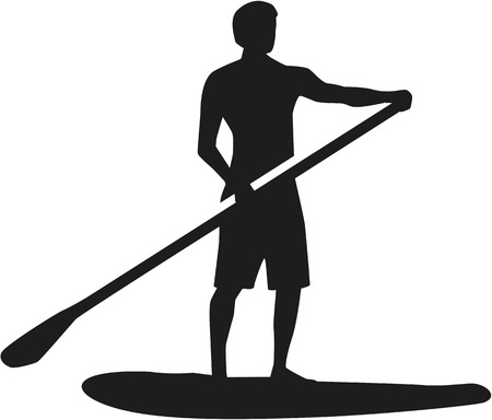 Stand up paddling silhouet