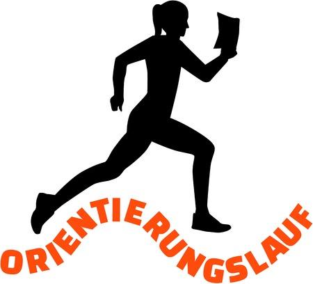 orienteering: Orienteering sihouette woman