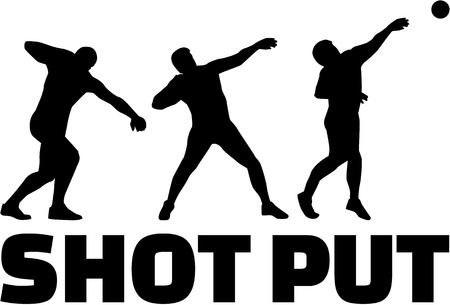 by shot: Shot put silhouettes