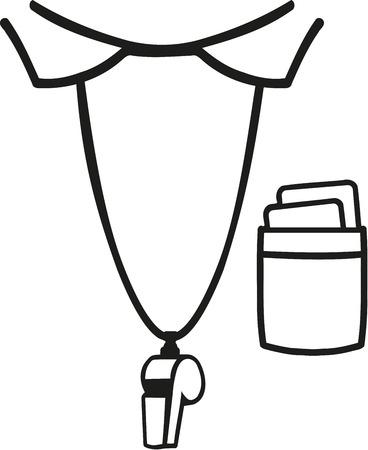 arbitro: Camisa del árbitro con el collar y el silbato Vectores