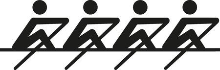 Roeien - coxeless vier Stock Illustratie