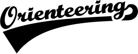 orienteering: Orienteering retro word Illustration