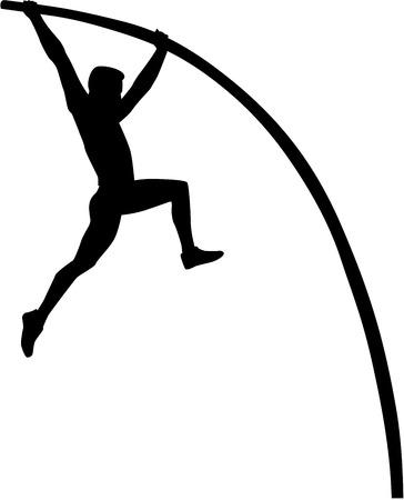 棒高跳びのシルエット