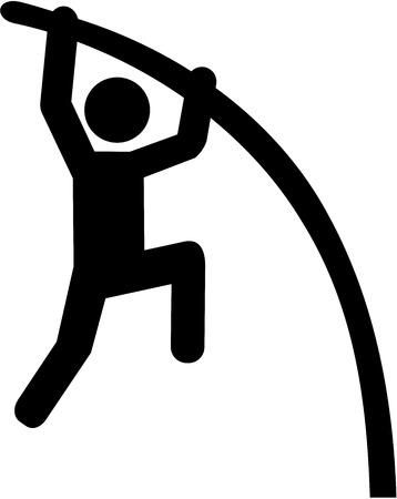 pole vault: Pole vault pictogram Illustration