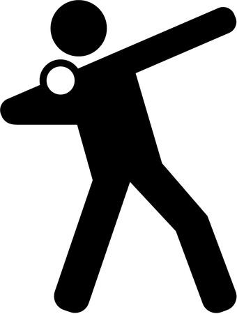 lanzamiento de bala: Toma pictograma puesto