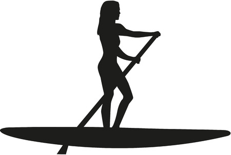 surf silhouettes: Stand up paddle woman