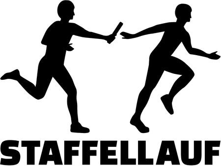 Relais Duitse woord met silhouet Stock Illustratie
