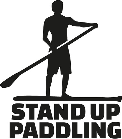 Stand up paddling word with silhouette