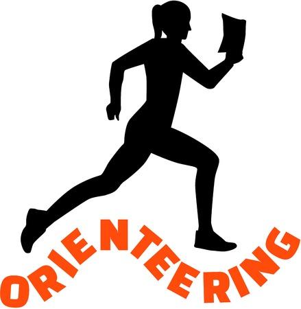 orienteering: Orienteering woman with word
