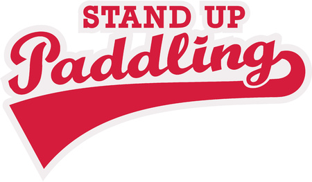 stand up: Stand up paddling word retro Illustration