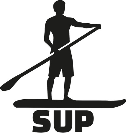 sup: Stand up paddling silhouette with SUP Illustration