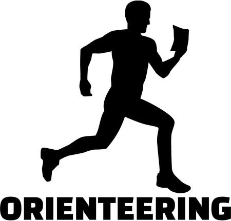 orienteering: Orienteering silhouette with word