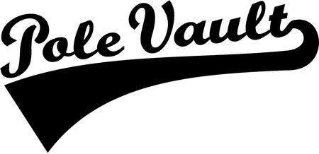 pole vault: Pole vault word retro Illustration