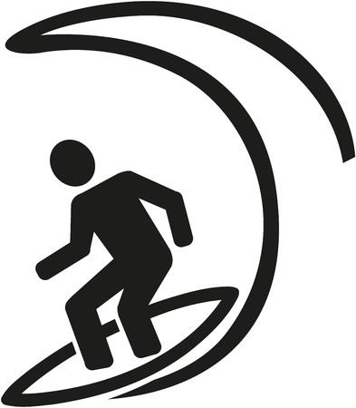granola: Persona que practica surf grande de la onda pictograma