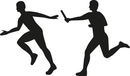 Relay people passing baton