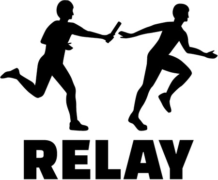 Relay word with two people passing baton
