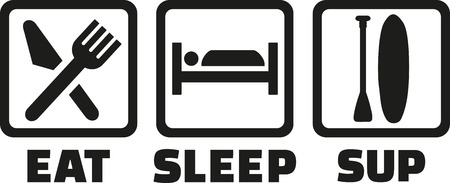 sup: Eat sleep SUP icons