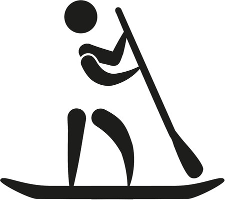 stand up: Stand up paddling icon Illustration