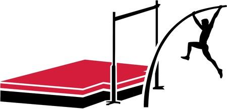 pole vault: Athlete at the pole vault system