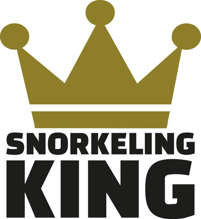 snorkeling: Snorkeling King with crown Illustration