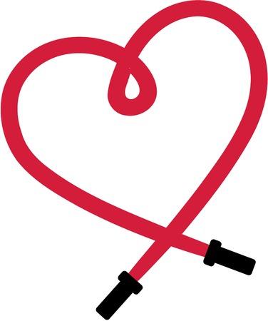 Saltare la corda in forma di un cuore