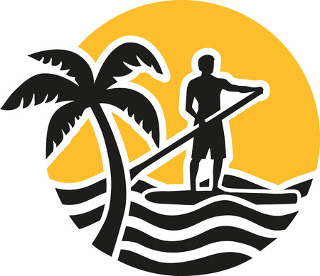 Stand up paddling icon with sun sea and palm Çizim