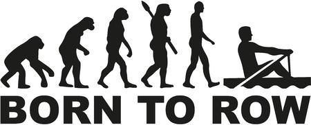 Evolution Roeien - geboren om te roeien Stock Illustratie