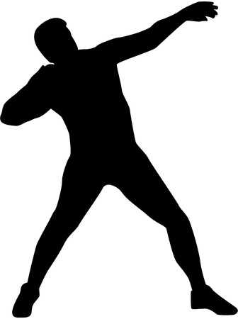 strong men: Shot put silhouette