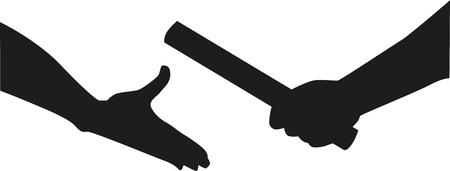 carrera de relevos: manos de rel� pasa el testigo Vectores