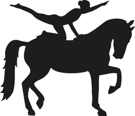 Horse Vaulting woman silhouette