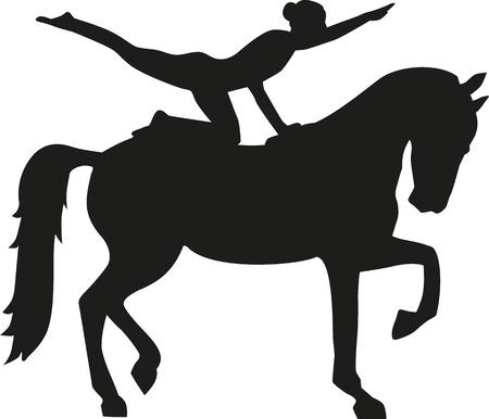Pferd Voltigieren Frau Silhouette Standard-Bild - 52371138