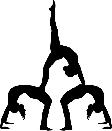 flexible girl: Acrobatics silhouette of three people