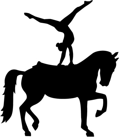 Horse Vaulting silhouette Vectores